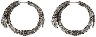 Gucci Garden silver snake hoop earrings
