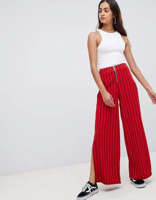 Wednesday's Girl flare pants with zip front in pinstripe