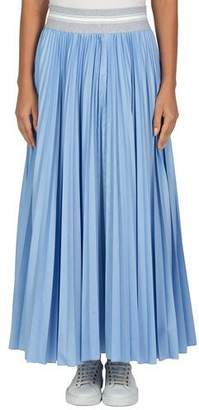 Eleventy Ribbed-Trim Pleated Long Skirt