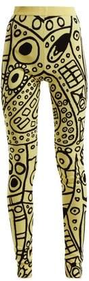 Colville - Abstract Jacquard High Rise Leggings - Womens - Black Yellow