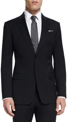 Armani Collezioni G-Line New Basic Two-Piece Wool Suit, Black $1,695 thestylecure.com