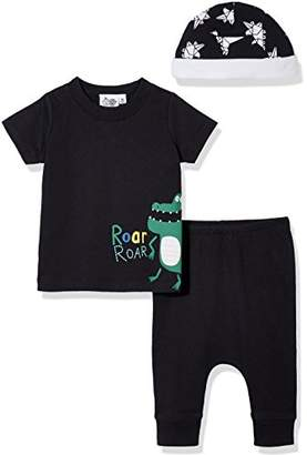 Silly Apples Unisex Baby Cotton Blend 3-Piece Short-Sleeve T-Shirt and Pant with Cap Outfit Set (12M)