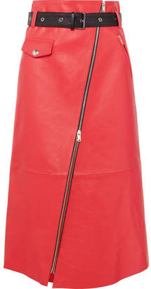 Sonia Rykiel Zip-embellished Belted Leather Midi Skirt - Red