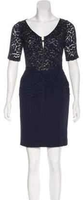 J. Mendel Short Sleeve Mini Dress Blue Short Sleeve Mini Dress