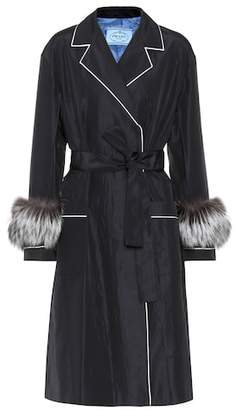 Prada Fur-trimmed silk coat