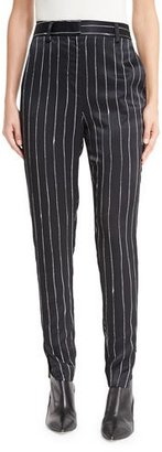 DKNY Tailored Striped Satin Pants, Black $398 thestylecure.com