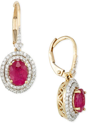 Rare Featuring Gemfields Certified Ruby (1-1/3 ct. t.w.) and Diamond (1/2 ct. t.w.) Drop Earrings in 14k Gold