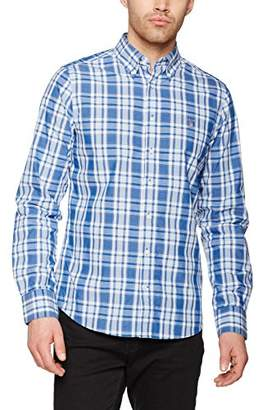 Gant Men's O2. TECH PREP Plaid FIT BD Casual Shirt, (Nautical Blue), (Size:Small)
