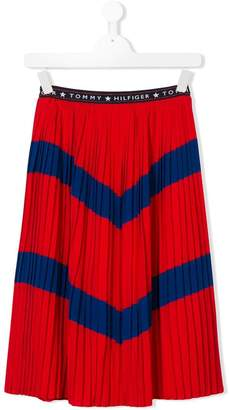Tommy Hilfiger Junior pleated chevron skirt
