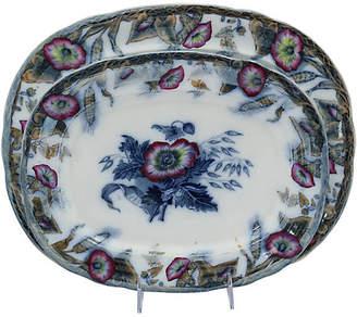 One Kings Lane Vintage Antique Davenport Flow Blue Platters,Set of 2 - Rose Victoria