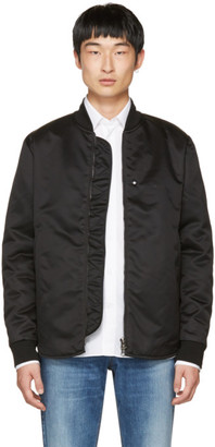 Acne Studios Black Mylon Bomber Jacket $620 thestylecure.com