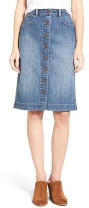 Women's Hinge Button Front Denim Midi Skirt $79 thestylecure.com