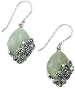 Lord & Taylor Jade and Sterling Silver Drop Earrings
