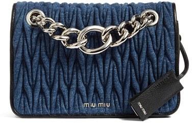Miu MiuMiu Miu Club Denim Shoulder Bag - Blue