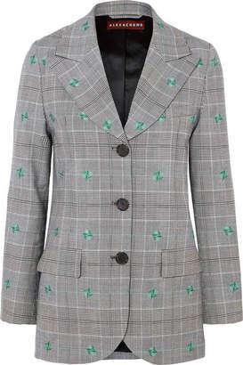 ALEXACHUNG Embroidered Checked Wool-blend Blazer - Gray