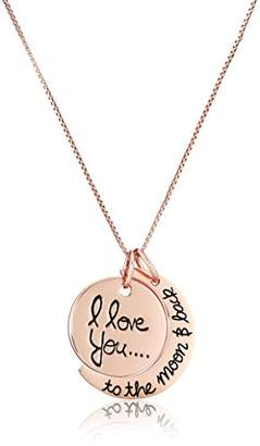 """Rosegold Sterling Silver Yellow-Gold Flashed """"I Love You To The Moon and Back"""" Two Piece Pendant Necklace"""