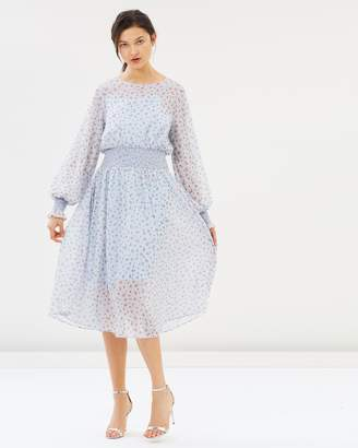 Rosette Shirred Midi Dress