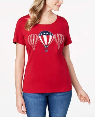 Karen Scott Petite Up & Away Embellished T-Shirt, Created for Macy's