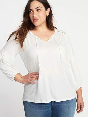 Old Navy Crinkle-Jersey Tie-Neck Plus-Size Blouse