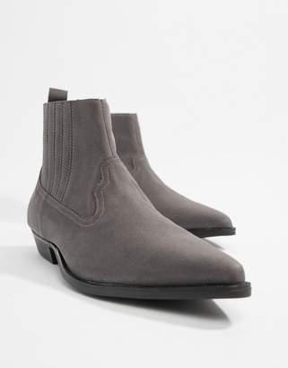 366674964d3 Asos Design DESIGN cuban heel western chelsea boots in grey faux suede