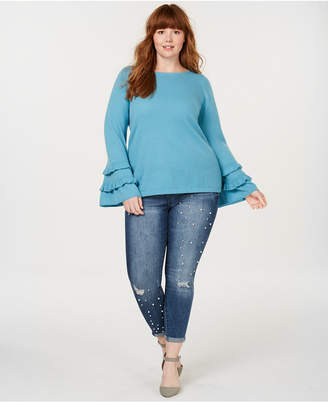 Charter Club Plus Size Pure Cashmere Double-Ruffle Sweater
