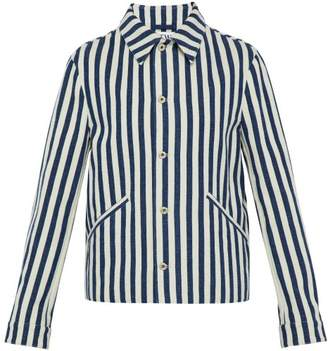 Loewe Striped Cotton Canvas Jacket - Mens - Navy White