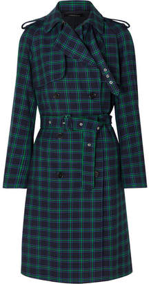 Rokh - Double-breasted Checked Twill Trench Coat - Navy