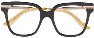 Gucci black web detail optical glasses