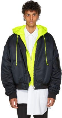 Juun.J Black and Yellow Conceal. Reveal Hoodie Bomber Jacket