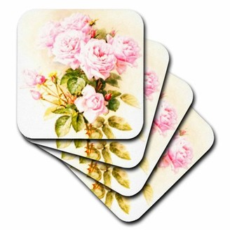 3drose 3dRose Paul de Longpre - shabby chic vintage pink roses - sun-faded antique flowers fine art - girly floral, Soft Coasters, set of 8