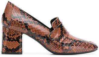 Casadei snakeskin block heel loafers