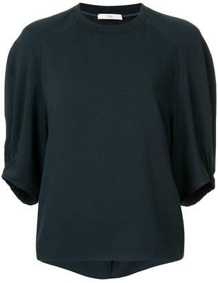 Tibi Savannah Shirred Sleeve Raglan Top