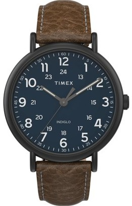 Timex Men's Weekender 43mm Brown/Blue Watch, Two-Piece Leather Strap