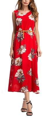 Equipment SciMam Women Summer Sleeveless Floral Print Beach Long Dress Casual Maxi Dresses
