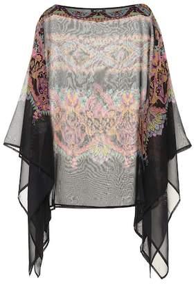 Etro Printed silk poncho top