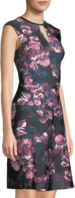 T.H. Designs First Date Floral Scuba Fit-and-Flare Dress