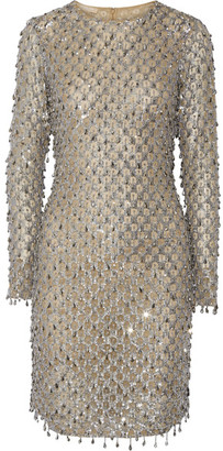 Michael Kors Collection - Embellished Tulle Mini Dress - Silver $9,995 thestylecure.com