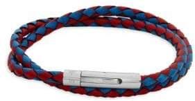 Tateossian Braided Leather Wraparound Bracelet