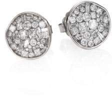 Ice Diamond Pleve Ice Diamond& 18K White Gold Pebble Button Earrings