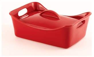 Rachael Ray Stoneware 3.5-Quart Covered Rectangle Casserole Red