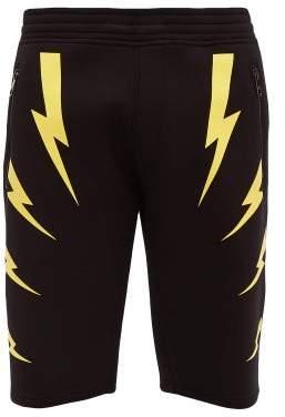 Neil Barrett Lightning Bolt Print Neoprene Shorts - Mens - Black Yellow