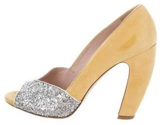 Miu Miu Glitter-Trimmed Peep-Toe Pumps