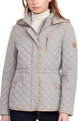 Women's Lauren Ralph Lauren Faux Leather Trim Quilted Anorak $170 thestylecure.com
