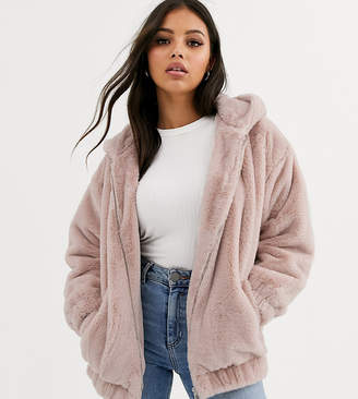 New Look Petite fur hooded bomber in pink