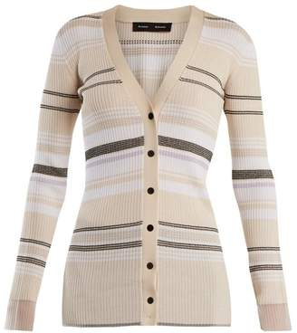 Proenza Schouler V Neck Ribbed Knit Striped Cardigan - Womens - Cream Stripe