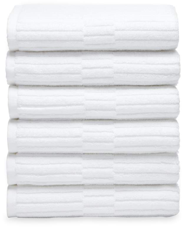 Chortex of England Oxford Ribbed Hand Towels (Set of 6)