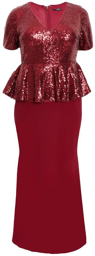 Curve Wine Sequin Peplum Maxi Dress