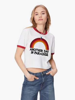 Aviator Nation Paradise Rainbow Boyfriend Ringer tee - White