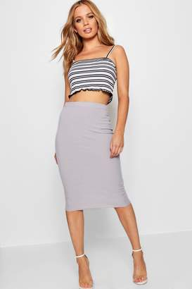 boohoo Petite Basic Midi Rib Bodycon Skirt