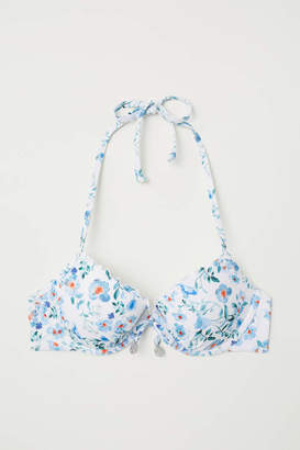 H&M Push-up Bikini Top - White/floral - Women